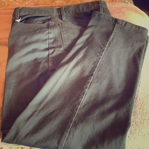 Chadwick's olive green 5-pocket jeans.